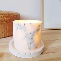 Bộ 3 sản phẩm: đế đỡ nến + nến thơm sáp đậu nành hương cà phê và nhục đậu khấu + tealight trang trí cành hoa lavender