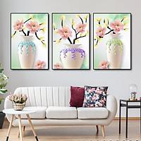 Tranh treo tường canvas lọ hoa mẫu đơn decor trang trí phòng khách, phòng ngủ & cầu thang có khung cao cấp tặng kèm đinh