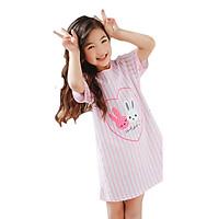Đầm ngủ bé gái 4-10 tuổi hình 2 chú thỏ ngộ nghĩnh – DN005