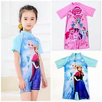 Bộ Đồ bơi trẻ em bộ liền thân cho bé gái từ 3-9 tuổi Pony Elsa, đồ bơi trẻ em ngắn tay ngựa Pony công chúa Elsa