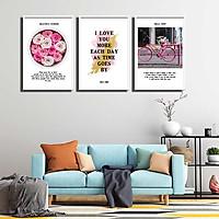 Bộ 3 tranh canvas treo tường Decor Tranh quotes tông trắng, hồng - DC181