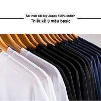 Áo Thun Nam Unisex thiết kế hình trơn 3 màu Đen / Trắng / Tím than basic thương hiệu Japas Cotton Ai Cập 190gram, áo phông cổ tròn basic dài tay thoáng mát, thấm hút mồ hôi - Hàng chính hãng