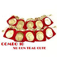 Combo 10 đồng xu con Trâu cute tặng túi gấm 2021 (giao mẫu ngẫu nhiên), đường kính đồng xu 4cm, mang lại may mắn, tài lộc, dùng làm quà tặng Lễ, Tết may mắn, ý nghĩa - TMT Collection - SP005113