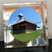 Đồng hồ thủy tinh vuông 20x20 in hình Church - nhà thờ (199) . Đồng hồ thủy tinh để bàn trang trí đẹp chủ đề tôn giáo