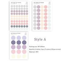 Bộ 120 hình dán nhựa PET chấm tròn 6 phong cách màu sắc thích hợp trang trí nhật ký / album ảnh ST102