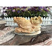 Tượng Long Quy ( Rùa đầu Rồng ) cõng bắp cải phong thủy đá cẩm thạch vàng cà rốt - Dài 19 cm