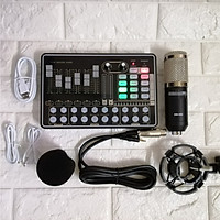 Bộ thu âm live stream Sound card H9  và micro BM900 đủ dây kết nối