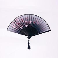 Quạt xám cổ phong đào hồng loại 2 quạt trúc xếp cầm tay phong cách Trung Quốc in hoa trang trí