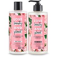 Combo Sữa Tắm + Sữa Dưỡng Thể Love Beauty And Planet Làm Sáng Da (400ml/Chai)