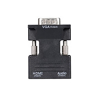 HD Female to VGA Male Adapter Support HD 1080P Video Signal Transmission with Audio Port for Monitor Projector TV PC