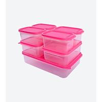 Combo 7 hộp nhựa đựng thực phẩm Hàn Quốc- Set 06 - Màu Hồng
