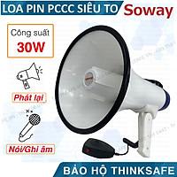 Loa pccc cầm tay Megaphone HTY-16S có còi hú báo động pccc, gọn nhẹ, công suất 30W (trắng)