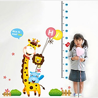 Decal dán tường thước đo chiều cao Hươu vui vẻ AmyShop DTD007 ( 160 x 100 cm)