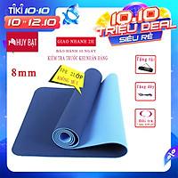 Thảm Tập Yoga, Tập Gym 8mm 2 Lớp Không Mùi + Túi Đựng Thảm + Dây Buộc Thảm Chính Hãng HUY BẠT - Giao Ngẫu Nhiên.