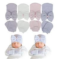 Set mũ nơ kem găng tay (bao tay) cho trẻ sơ sinh