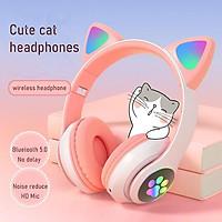 Tai nghe chụp tai Bluetooth mèo cute dễ thương, headphone chân mèo không dây, tai phone gaming có mic, đèn led siêu đẹp