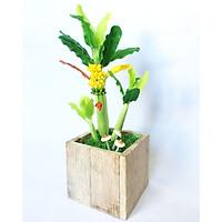 Chậu hoa đất sét mini- Cây chuối mộc mạc - Quà tặng trang trí handmade (34x11x11cm)