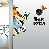Cartoon Wall Stickers Cute Animals A Pro - Green Living Room Sofa Posted Children 's Room Paste