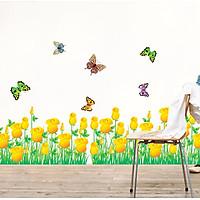 Decal dán chân tường hoa hồng vàng cho bé AY7025