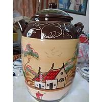 Hũ đựng rượu gạo gốm sứ Bát Tràng vẽ phong cảnh loại 15L