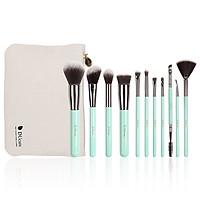 Bộ cọ trang điểm 11 cây Kèm túi đựng DUcare makeup brushes 11PCS professional brushes light green