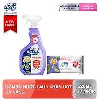 Combo Lau Bề Mặt MaxKleen Đa Năng: 1 chai xịt 520ml + 1 khăn ướt 30 miếng