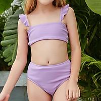 2021 Cô Gái Một Vai Với Đồ Bơi Trẻ Em Da Báo In Đồ Bơi Dễ Thương Hai Mảnh Bikini Bơi Mùa Hè Bodysuits Cho 5 ~ 12 Năm