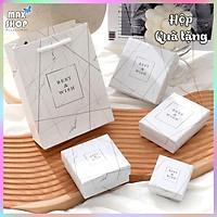 Hộp quà tặng hộp trang sức MÀu trắng Vân Đá sang trọng chất liệu cao cấp