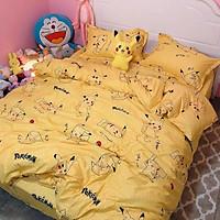 Bộ Drap & Chăn Phao 5 Món Cotton Poly Pikachu