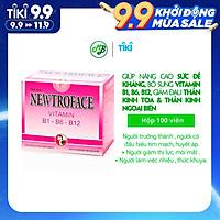 Viên uống TPCN NEWTROFACE viên nén - Robinson Pharma usa - giúp bổ sung vitamin 3B B1,B6,B12,bồi bổ cơ thể - hộp 100 viên