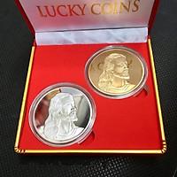 Tiền xu hình Chúa mạ vàng bạc TX15