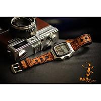 Dây đồng hồ cho Casio AE1200 WHD và Seiko 5 37mm - Da dê Vân trăn rằn ri vàng cực đẹp