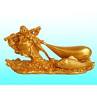 Tượng Phật Di Lặc Kéo  Tiền Vàng Phong Thủy May  Mắn Tài Lộc  dài 21 cm