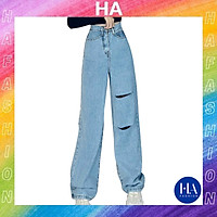 Quần Jean Nữ Ống Rộng H&A Fashion Lưng Cao Màu Xanh Rách Đùi Sau TBQBB3183