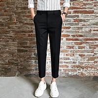 Quần âu nam thời trang dáng ôm công sở, quần tây nam vải co giãn nhẹ chống nhăn chống xù ống côn cực lịch sự, trẻ trung - Đen - SIZE 34 (74-80kg)