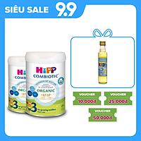 Combo 2 lon sữa bột dinh dưỡng công thức HiPP 3 Organic Combiotic chất lượng hữu cơ, tăng cường sức khoẻ hệ miễn dịch, bổ sung Canxi và vitamin D dành cho trẻ trên 12 tháng tuổi (2 lon x 800g)