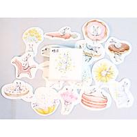 Hộp 45 Miếng Dán Sticker Trang Trí Chú Thỏ Hạnh Phúc