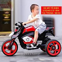 Xe máy điện 3 bánh 8105 mô tô điện cho bé 2 động cơ tự lái (Đỏ-Trắng-Vàng cam)