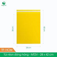 MT2V - 28x42 cm - Túi nilon gói hàng - 100 túi niêm phong đóng hàng màu vàng