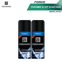 Combo 2 Xịt toàn thân Romano Force tươi mát năng động 150ml