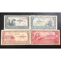 Bộ 4 tờ tiền xưa Việt Nam 1 đồng, 2 đồng, 5 đồng, 10 đồng