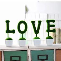 Bộ 4 chậu cây chữ Love Trang trí