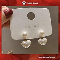 Khuyên tai nữ hoa tai bông tai nữ dễ thương hình trái tim ngọc trắng TB219 - TOBI'SHOP