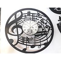 đồng hồ treo tường bẳng đĩa than hình nốt nhạc , tặng pin đồng hồ