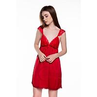 Dreamy-VX02-Váy ngủ lụa cao cấp, váy ngủ nữ, váy ngủ 2 dây, váy ngủ gợi cảm, váy ngủ sexy, đầm ngủ lụa mặc nhà dáng xòe phối tay cánh tiên có 4 màu đỏ đô, đen, xanh đen và trắng