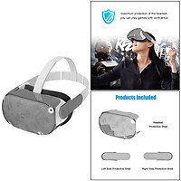 VR Silicone Cover Set for  Quest 2 Headset | Silicone VR Face Cover & VR Shell Front Face Protector Cover and Protective Lens Cover