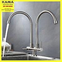 Vòi rửa chén bát lạnh hai thân inox 304 KAMA RC04-L - Vòi rửa chén lạnh đơn inox 304 dùng cho chậu rửa nhà bếp 2 hố, hoạt động độc lập, thân cao 34 cm, cân nặng 830 gram - Hàng mới 2020