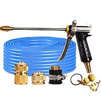 Bộ dây vòi xịt nước rửa xe, tưới cây đa năng, tăng áp 3 lần, loại 7m, 10m 206318 đầu đồng,cút đồng+ tặng móc khoá