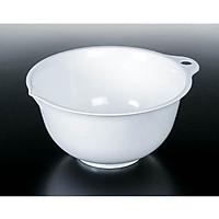 Bộ 2 thau nhựa trắng trơn có tay cầm và môi rót nước thông minh Nội địa Nhật Bản