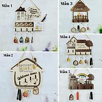 Bảng gỗ treo trang trí nhà cửa kèm đồ treo móc khóa Home